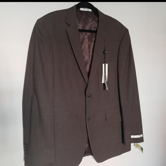 NWT brown pinstripe 2 button blazer 44r